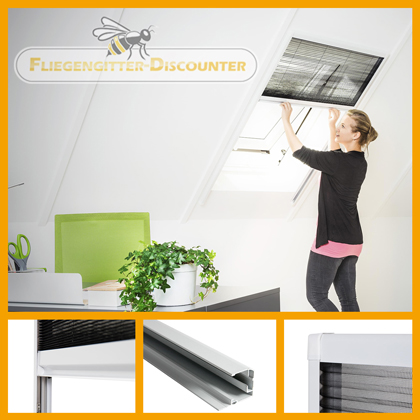 fliegengitter fenster t r dachfenster klettband magnet lamellenvorhang rollo ebay. Black Bedroom Furniture Sets. Home Design Ideas
