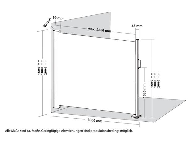 seitenmarkise windschutz slim aluminium textilgewebe. Black Bedroom Furniture Sets. Home Design Ideas