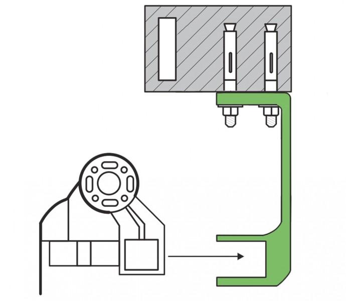 Deckenhalterung Gelenkarmmarkise technische Skizze