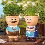 Blumentopf Männchen, Keramik handbemalt