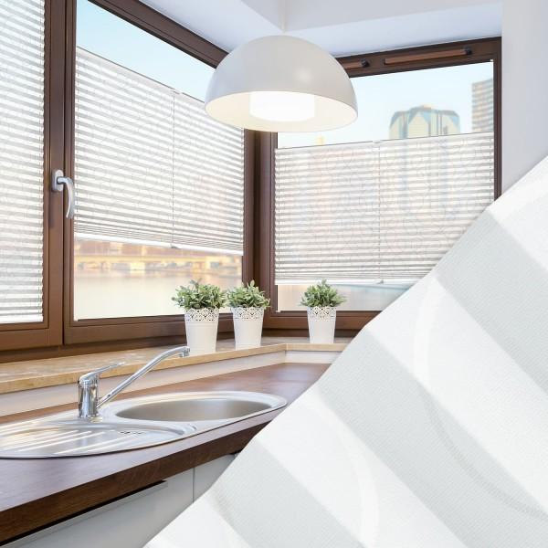 Plissee nach Maß für Fenster Farbe N170 White Rounds Ambiente Küche