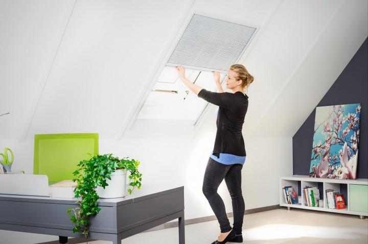 Sonnenschutz Dachfenster Plissee Ambiente_weiß