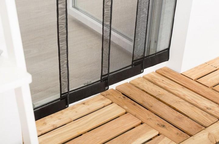 Lamellenvorhang schwarz 4 Lamellen Detail Gewichte