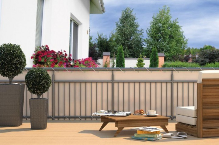 Balkon-Sichtschutz inkl. Kordel Creme
