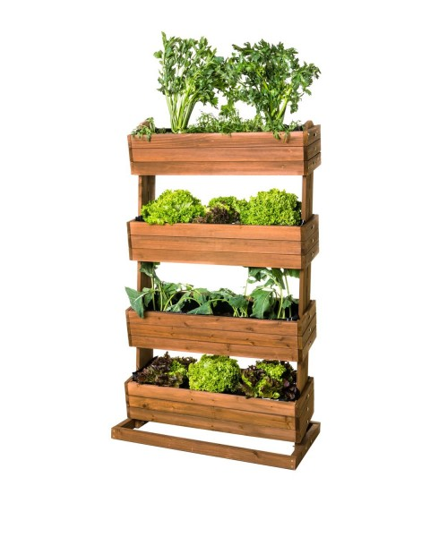 Vertikales Hochbeet Cube Freisteller bepflanzt