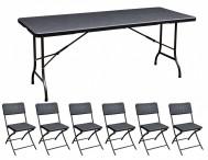Sitzgarnitur, Polyrattan - 1 Tisch + 6 Stühle