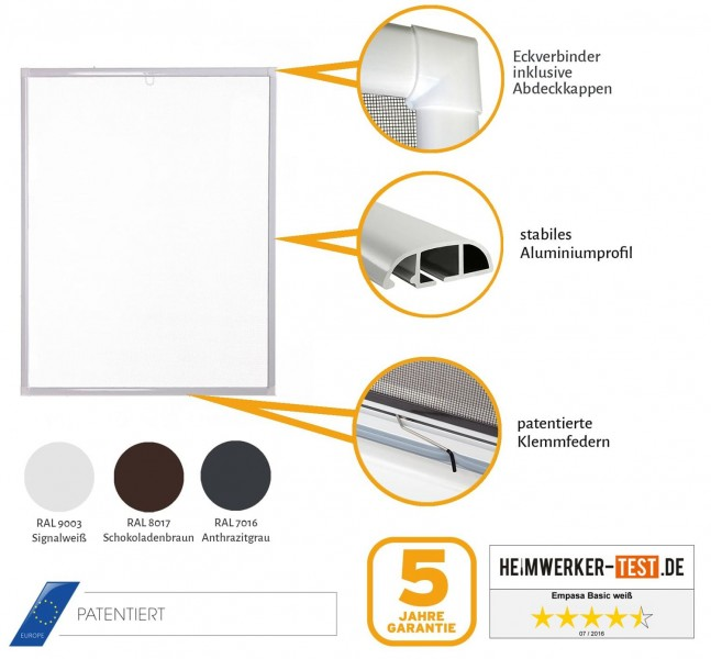 Fliegengitter Fenster Basic Produkt Features weiß