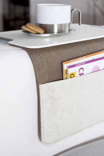 Sofabutler Carry grau braun Sofalehne Detail