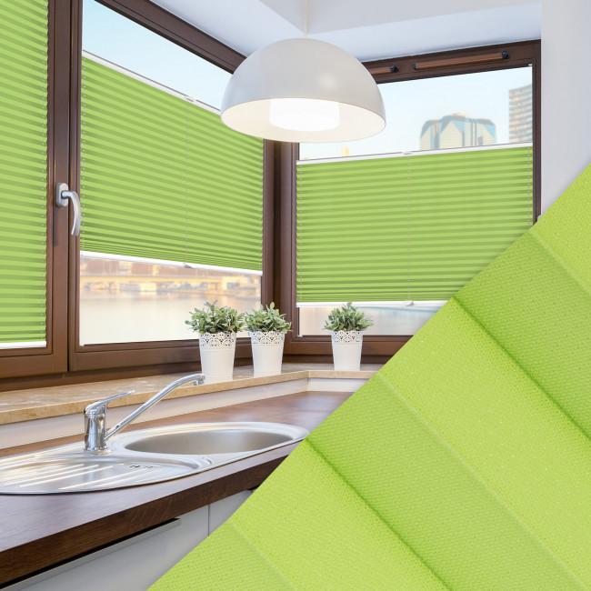 Plissee nach Maß für Fenster Farbe N715 Green Punch Ambiente Küche