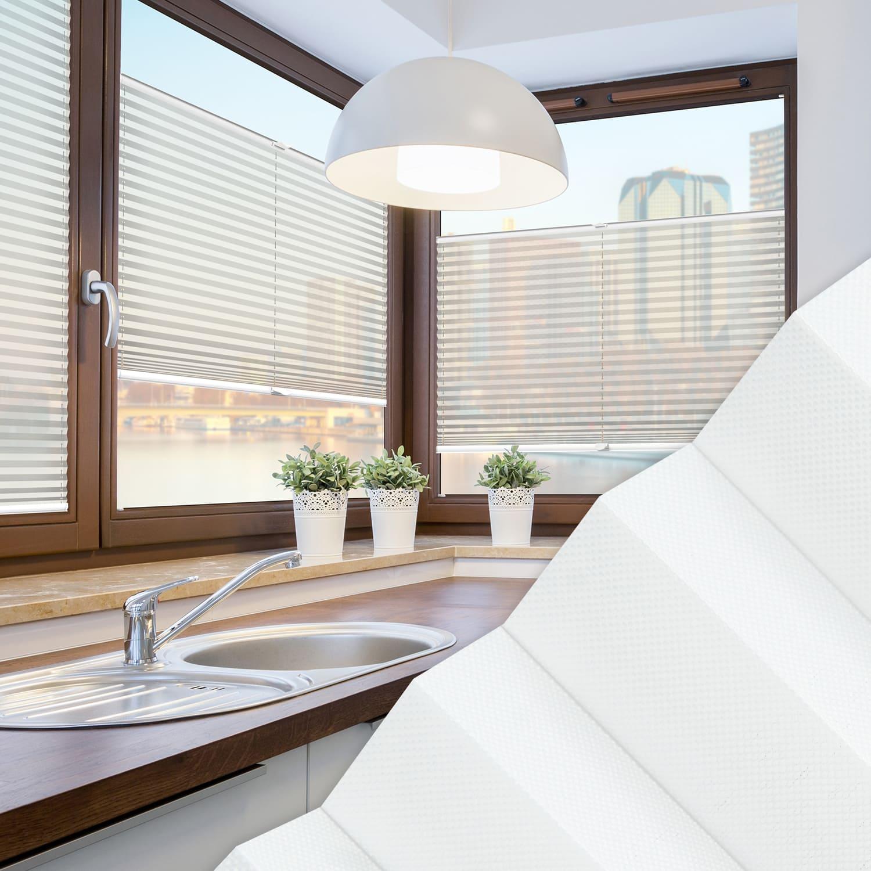 Plissee nach Maß für Fenster, Farbe N20 Ghost White