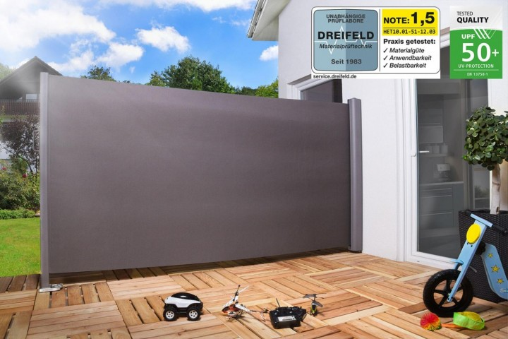 seitenmarkise windschutz pro aluminium textilgewebe empasa. Black Bedroom Furniture Sets. Home Design Ideas