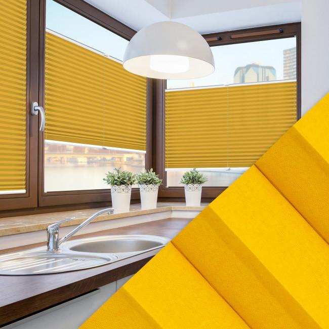 Plissee nach Maß für Fenster Farbe N738 Golden Rod Ambiente Küche