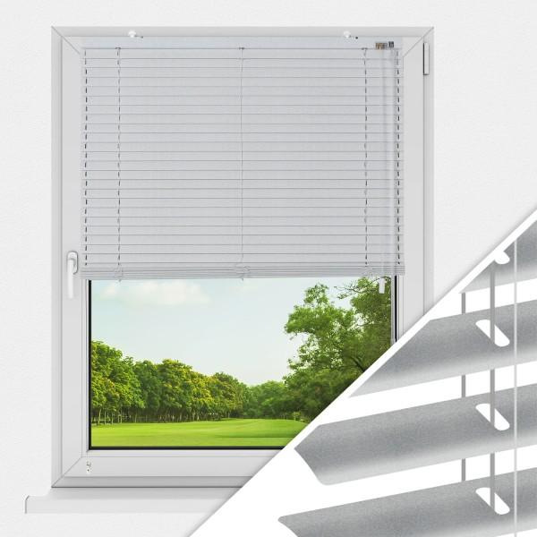 Aluminium Jalousie nach Maß für Fenster, Farbe 2036 silber gebürstet