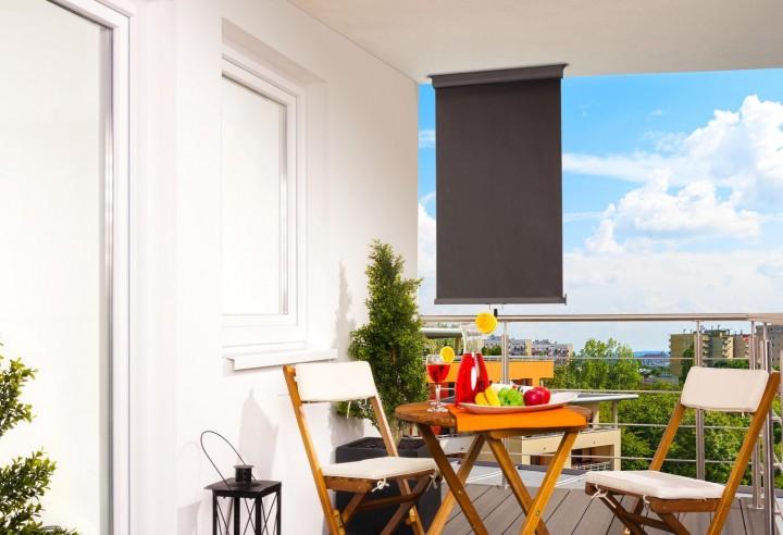 Balkonmarkise anthrazit vertikal