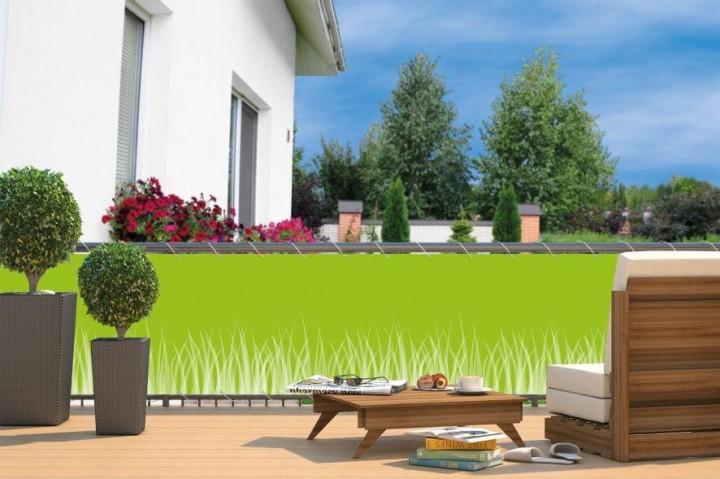 Balkon-Sichtschutz inkl. Kordel Gras