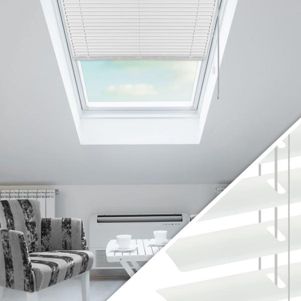 Aluminium Jalousie nach Maß für Dachfenster, Farbe 2001E reinweiß